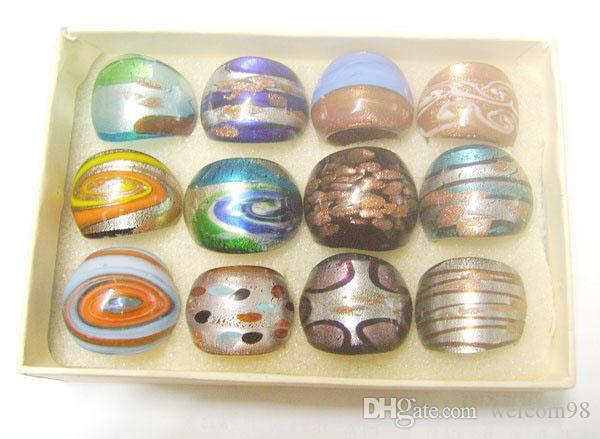 12 قطعة / الوحدة مزيج الألوان أنماط lampwork الزجاج الفرقة خواتم ل diy الحرفية مجوهرات هدية RI1 *
