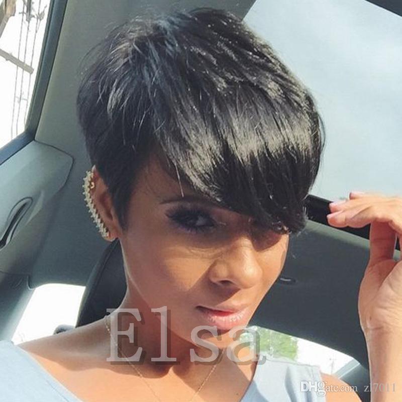 Unverarbeitete brasilianische Echthaarperücken für schwarze Frauen 6A Grade Glueless Rihanna Chic Cut kurze Echthaarperücken