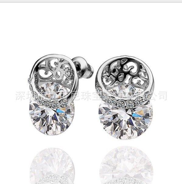 SALDI Moda gioielli nuovi Orecchini triangolo argento 925 Fit Pandora cristallo femminile da Swarovski semplice