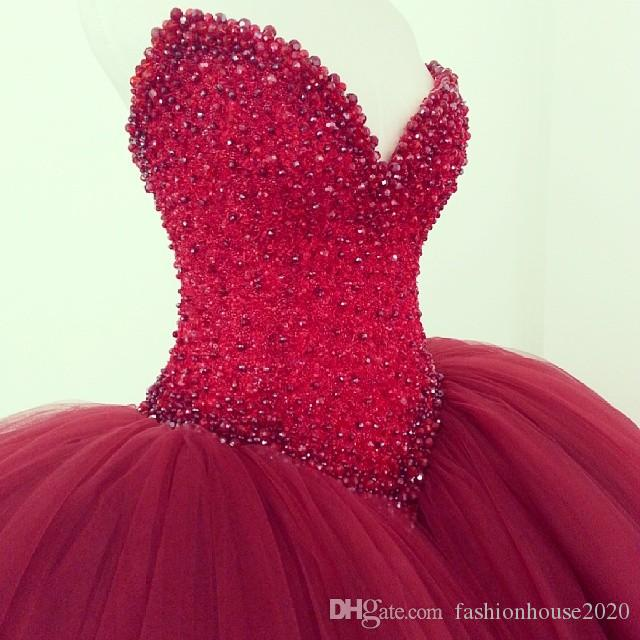 2021 Tulle Ball Gown Wedding Dresses Dark Red Sexy Sweetheart Pearls Crystal Beaded Weddings Bridal Gowns Modest Puffy Bride Dress Plus Size Sweep Train