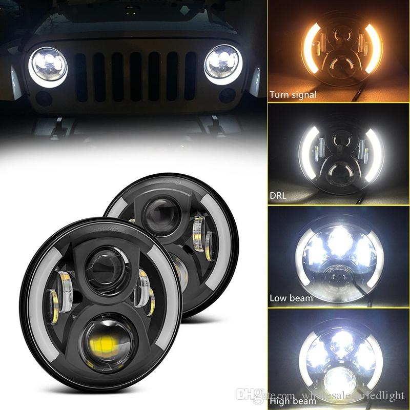 2019 7 Inch Round Led Halo Headlights Bulb Lamp For Jeep Wrangler Jk Tj Lj Hummer H1 H2 Led Headlamp Projector Drl Harley From Wholesalecarledlight