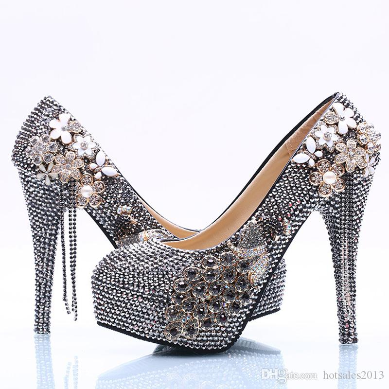 Frauen High Heels Phoenix Schwarz AB Kristall Prom Schuhe Handgemachte Hochzeit Pumps Brautjungfer Schuhe Mutter der Braut Schuhe