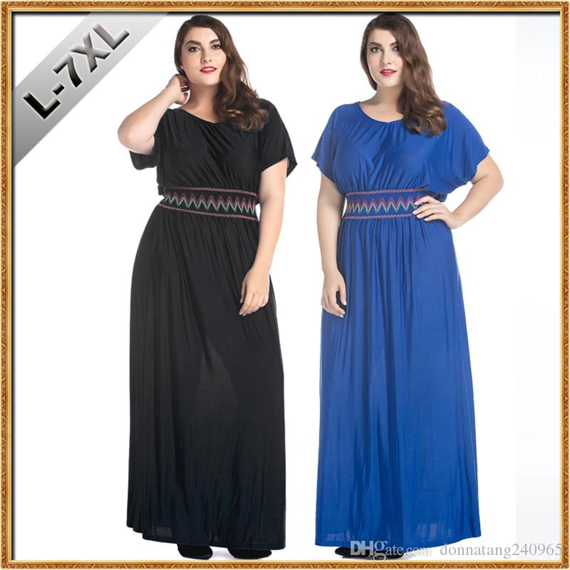 L-7XL 2017 Summer Bohemia high waist short sleeve solid color spandex plus size ice silk dress embroidered fat women