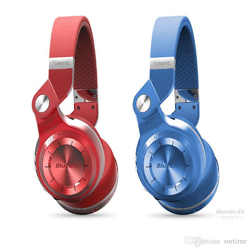 Red Bluedio T2 Wireless Bluetooth 4.1 Stereo Headphones Micrófono de alta calidad incorporado para manos libres para llamadas y música Streaming 4 colores