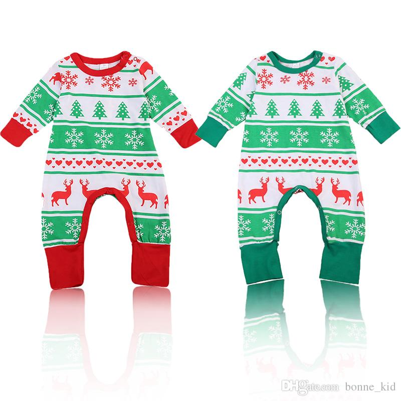 Christmas Jumpsuit Baby.2019 Christmas Baby Boy Girl Reindeer Pajamas Jumpsuit Red Green Unisex Xmas Romper Clothing Toddler Bodysuit Cute Children Kid Clothes From