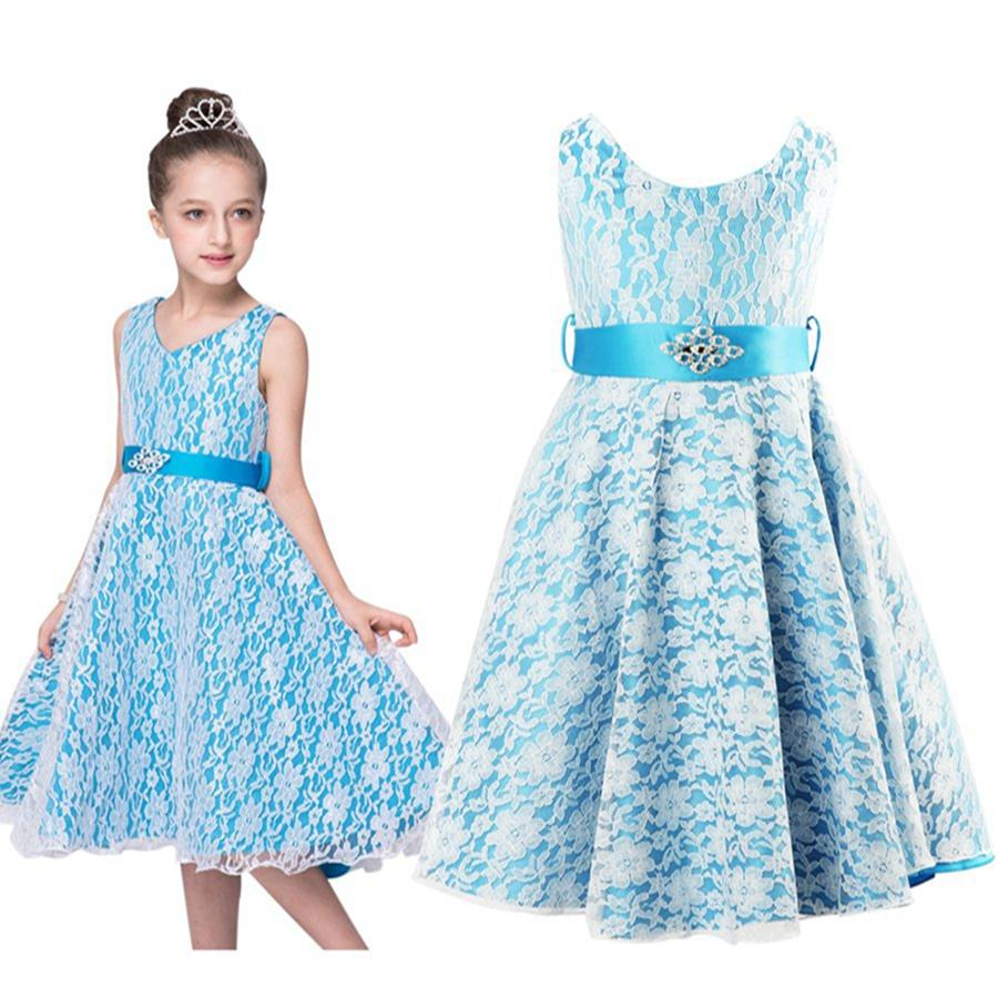 Girls Flower V-Neck Lace Formal Dress Bridesmaid/Prom/Wedding/Party ...