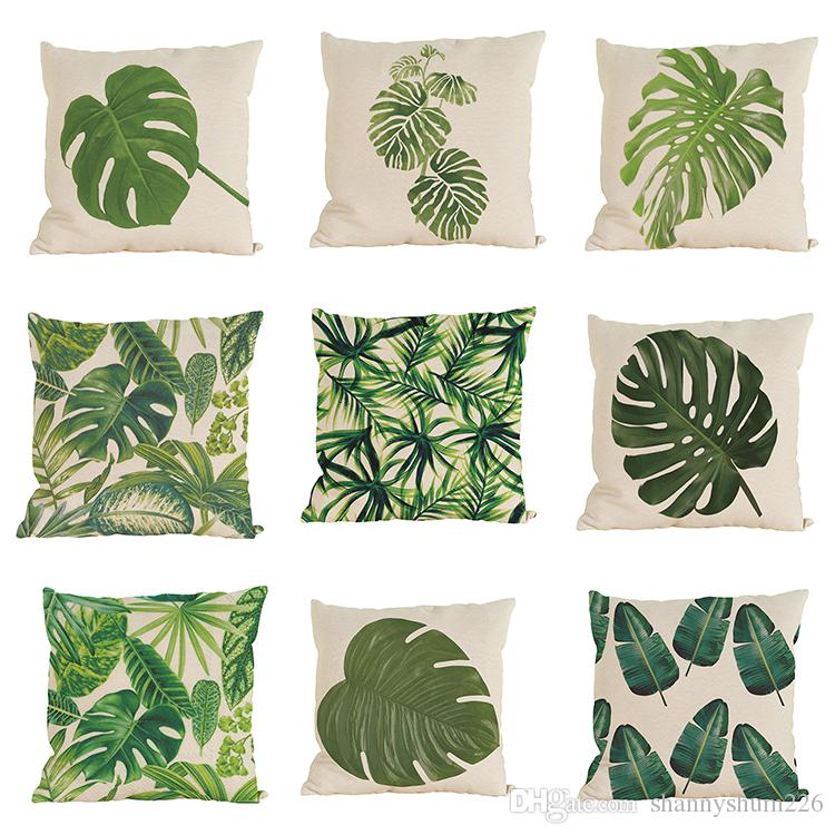 Novelty Tropical Plant Pattern Linen Pillowcase Sofa Home Decor Cushion Cover Throw Pillow Case Without Insert(18*18inch)
