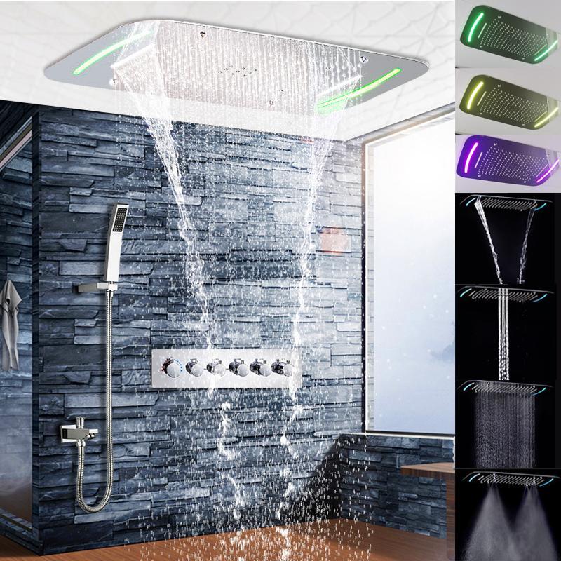 Luxo LED elétrico incorporado teto Chuvas banho de cachoeira torneira do chuveiro Mixer com latão chuveiro handheld