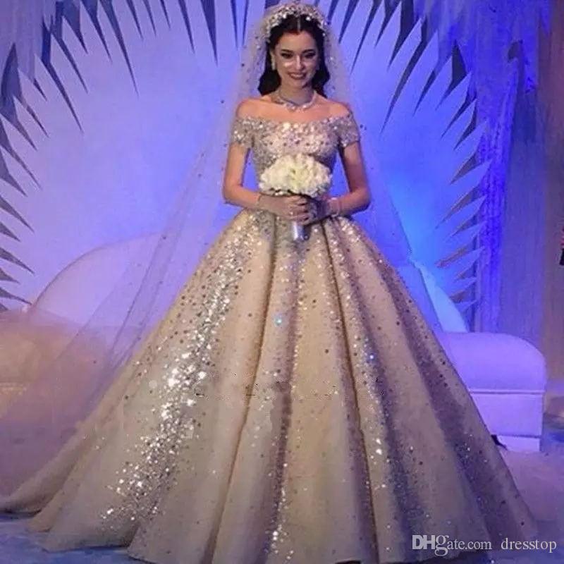 Compre Vestidos De Novia De Arabia Saudita De Lujo Dubai Off Hombro ...