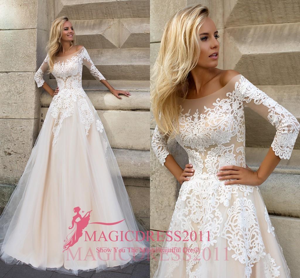 Oksana Mukha 2019 Düğün Ağır Süslenmiş Vintage Düğün Gelin Modelleri A-Line Off-Omuz Illusion Korsajlı Uzun Kollu Elbiseler