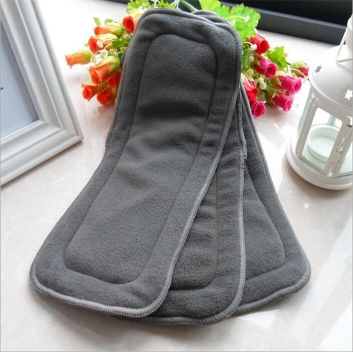 Новорожденный пеленки бамбук уголь эластичные вставки для подгузников многоразовые моющиеся ткань пеленки мягкая вставка Fraldas де пано 10 шт. / упак. B3162