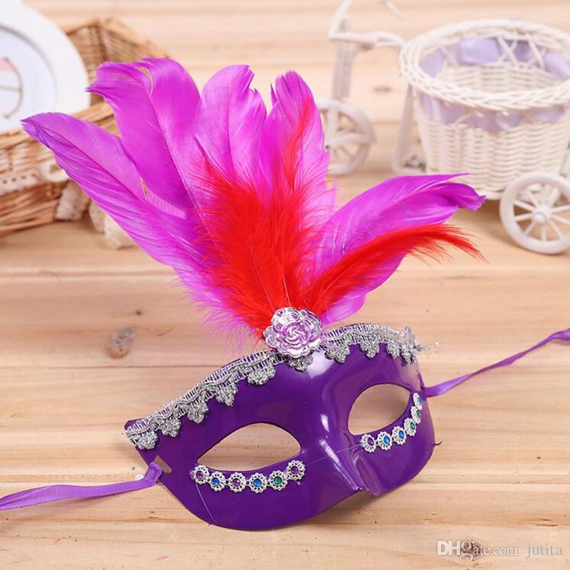 2018 Colorful Feather Mask Venice Princess Half Face Masks Festive Kids Adults Halloween Party Dress Supplies