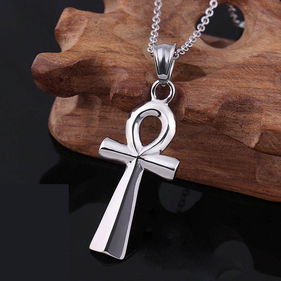 ciondoli classici argento gioielli egiziani ciondolo in acciaio inox catena per gli uomini chiave per la vita in Egitto croce Vintage MP75