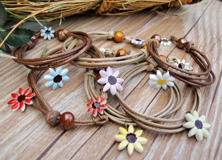 Women's fashion Handmade Weave Hide Rope Daisy Flower Elegant Sweet Cute Ceramic Charm Bracelets Gril Gifts Free Shipping mixed 20 pcs/ lot