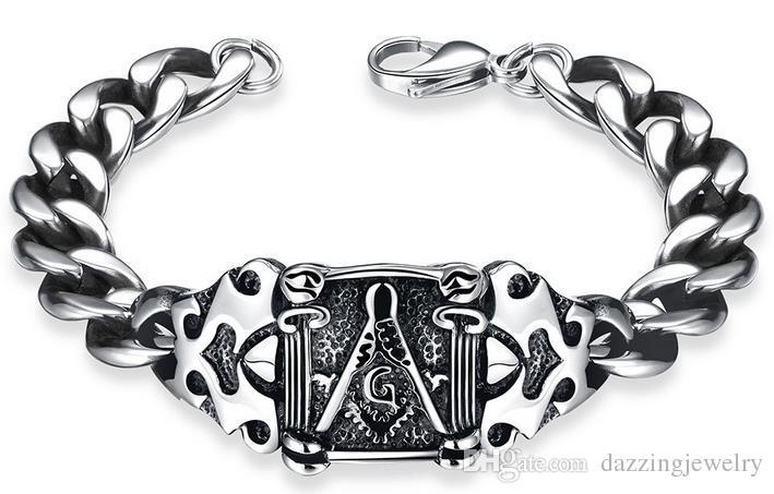 2017 new stainless steel masonic signet freemason free mason men's retro silver punk bracelet with black oil drip drop shipping