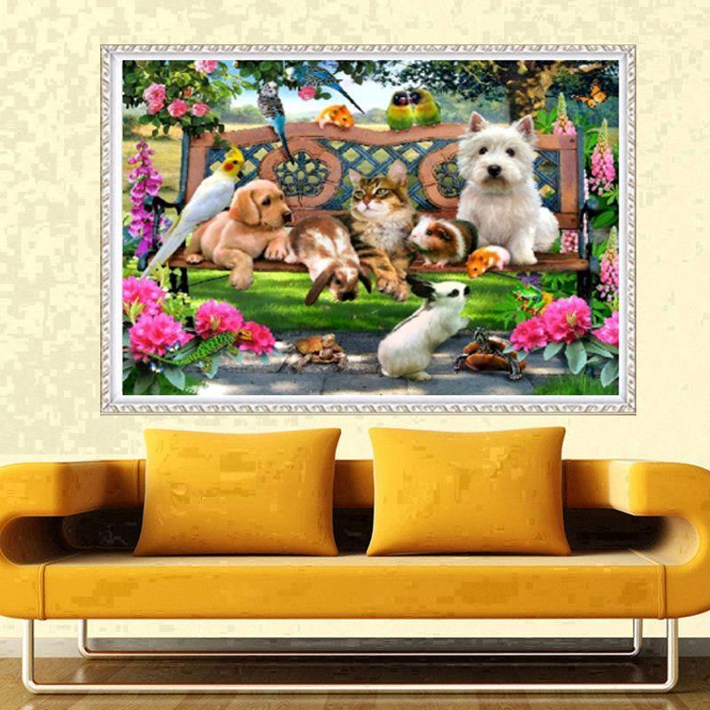 Promoção DIY Parcial 5D Diamante Bordar Os Cães Rodada Pintura Diamante Cross Stitch Kits Diamante Mosaico Decoração de Casa