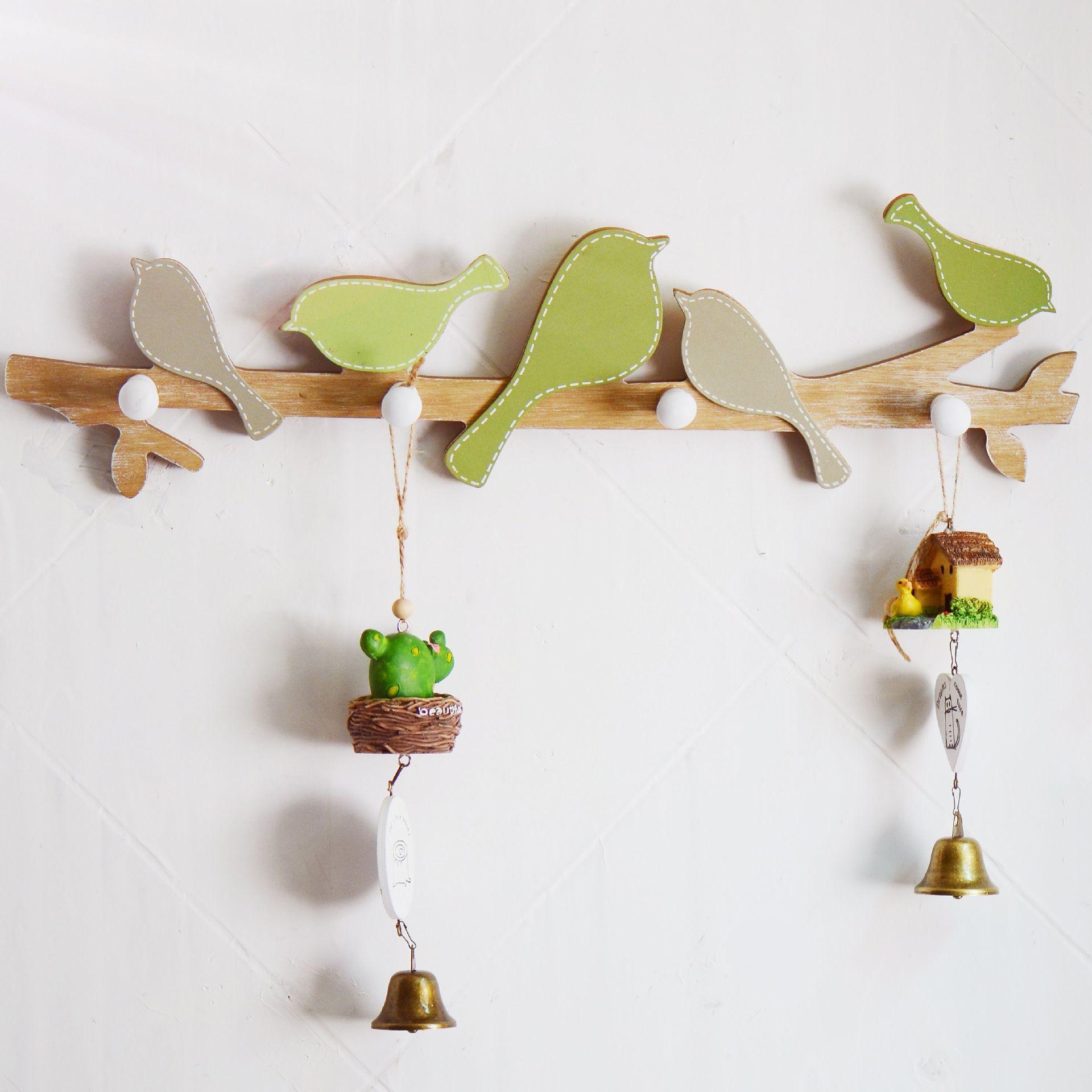 Ahşap elbise askısı kanca vestiyer ahşap askıları kuşlar duvar askı kanca duvar dekorasyon zanaat hediyeler 18.9x5.11 inç