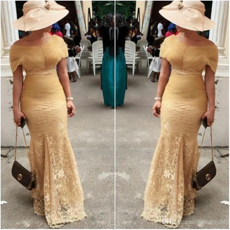 Elegant Aso Ebi Evening Dresses Lace Mermaid Off-The-Shoulder Prom Dress Sweep Train Zipper Back 2017 African WomenFormal Gowns