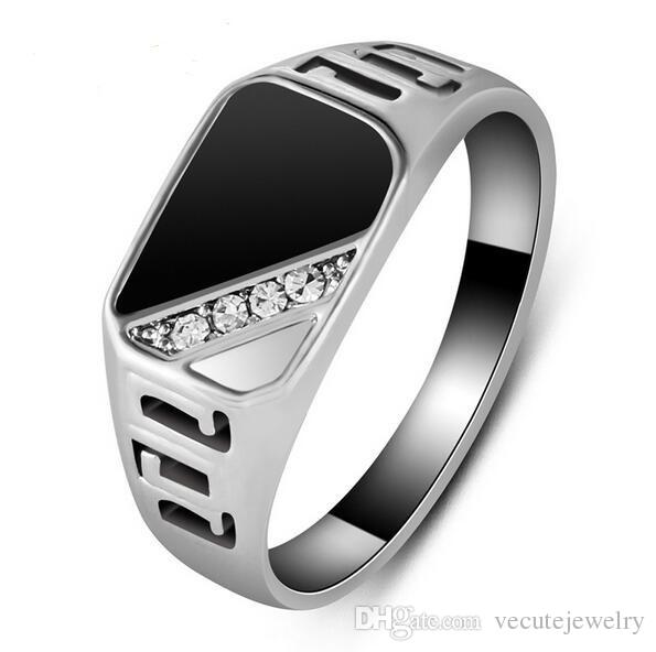 High Quality Man crystal made with Swarovski White Gold Plated CZ Diamond Black Enamel Men Finger Ring Oil Drop Male Ring Free Shipping