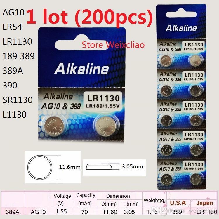 200 шт. 1 лот AG10 LR54 LR1130 189 389 389A 390 SR1130 L1130 1.55 В щелочные кнопки батареи батареи монеты батареи Бесплатная Доставка