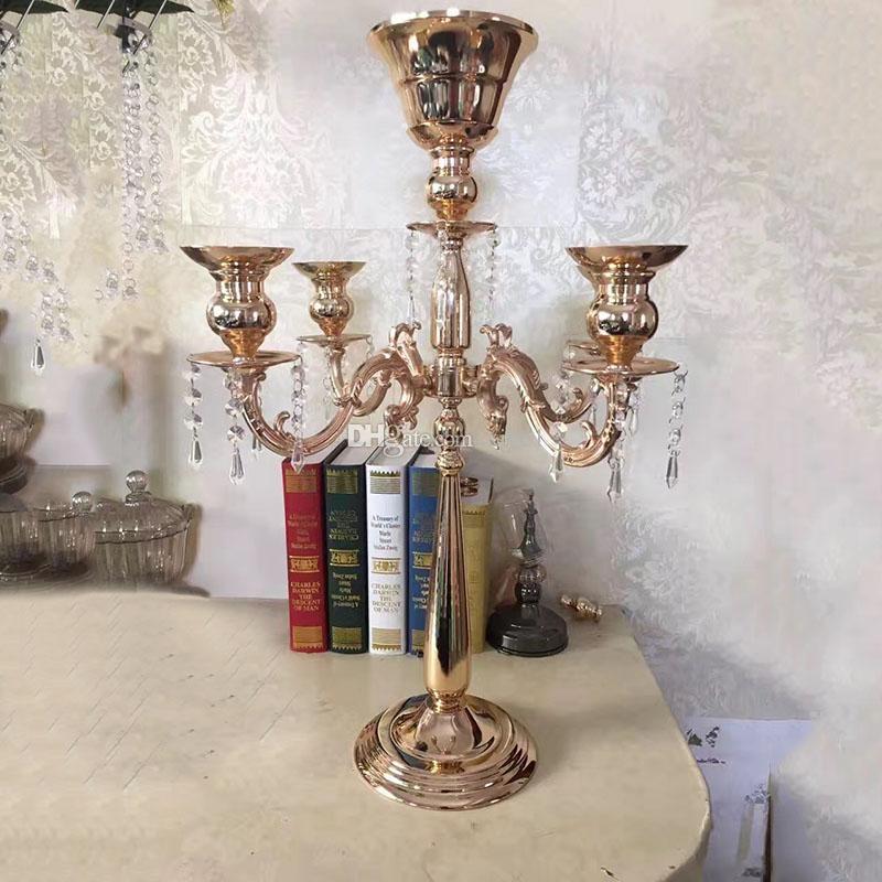 Романтический Кристалл 5 головные подсвечники Щепка металл + хрустальное стекло Алмаз для свадьбы Центральным цветок чаша с подвесками