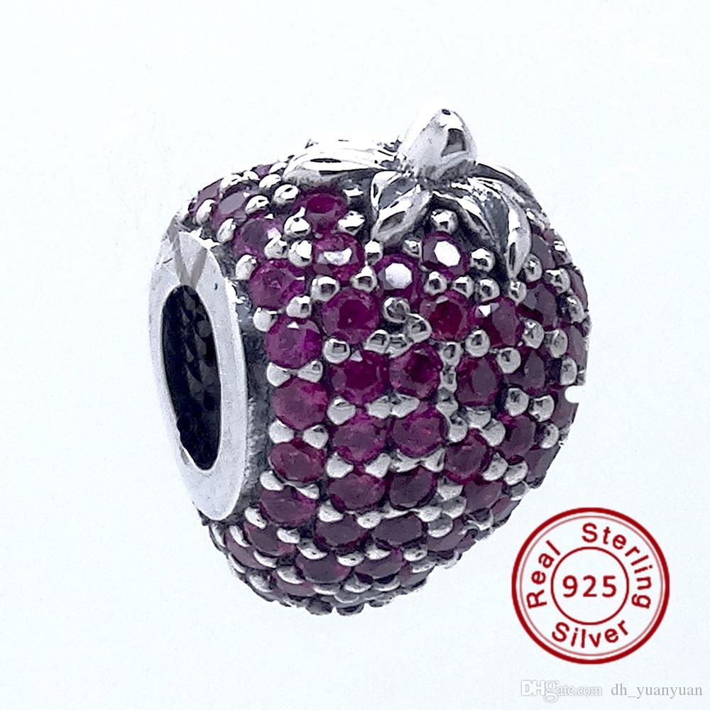 Pave Strawberry Red CZ 2016 Estate 100% 925 Sterling Silver Beads Fit Pandora Charms Bracciale Autentico europeo fai da te perline gioielli di moda