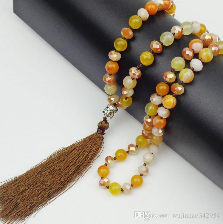 8mm Natural stones Agate / Crystal / Beads necklace Buddha Buddha Head Accessories Yoga Long Section necklaces women jewelry