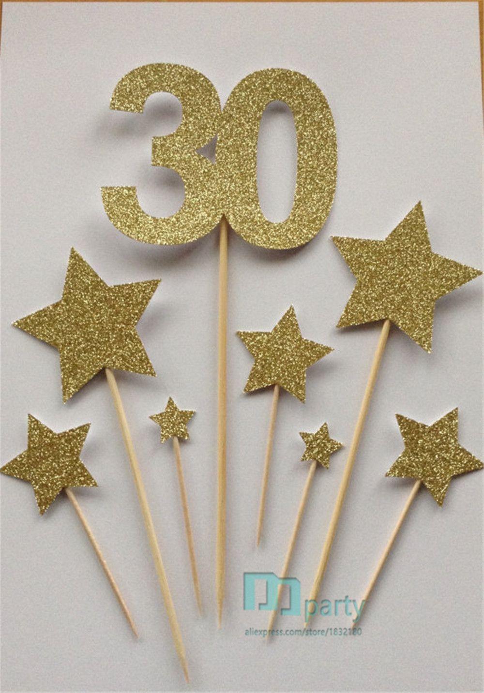 الجملة-مخصص عدد كعكة القبعات العالية عيد ميلاد الذهب 30 ، بريق كعكة القبعات الذهبية نجمة 30 ، القبعات العالية كعكة عيد ميلاد ، حزمة متنوعة
