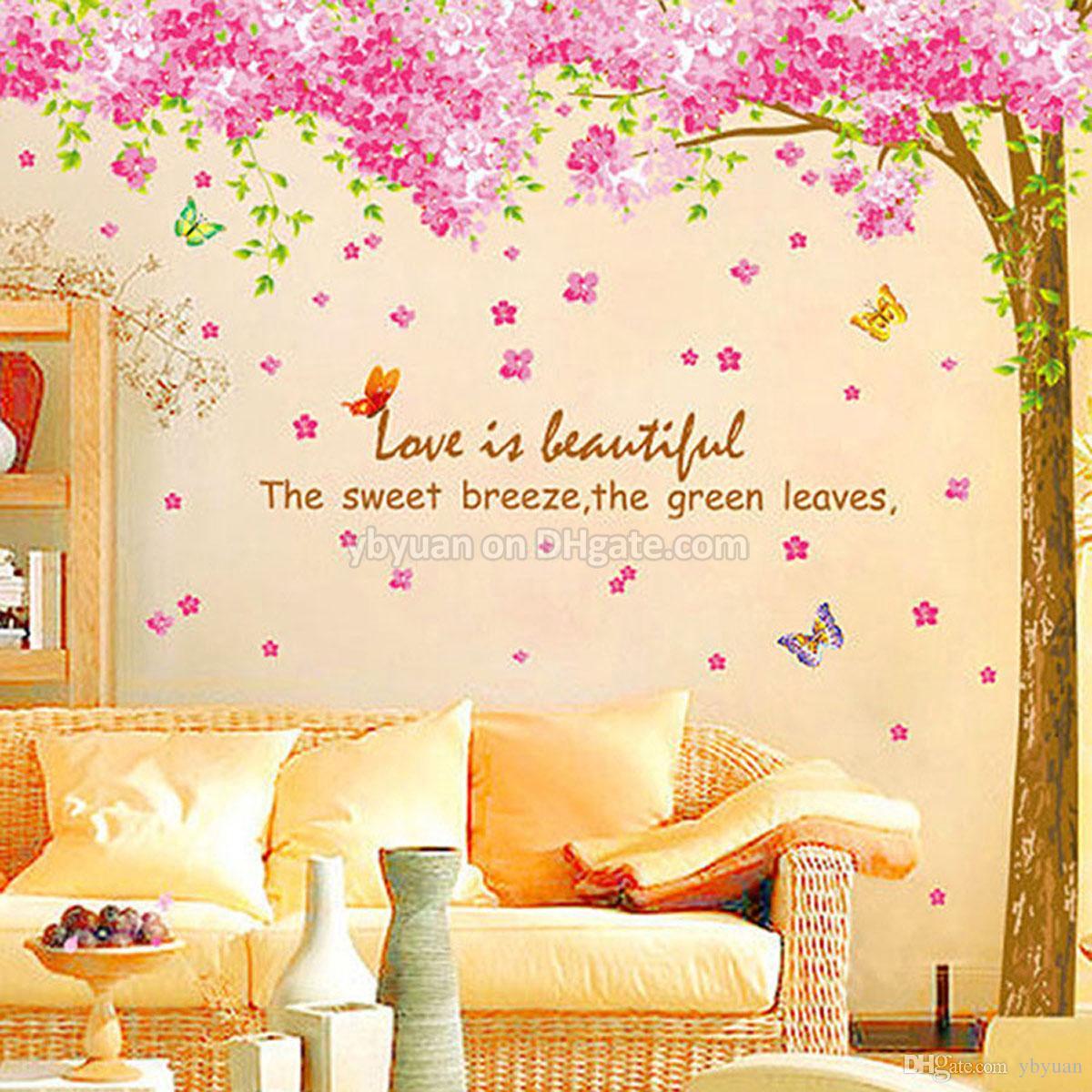 XL Cherry Blossom Arbre Wall Sticker Amovible Sakura Fleur Stickers Décoratifs Salon TV Canapé Contexte Sticker Décor À La Maison 2 PCS / Ensemble