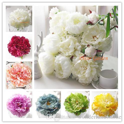 50PCS 16color 14.5CM Kunstseide-Pfingstrose-Blumen-Köpfe DIY Hochzeit Wand Bogen Hintergrund Bouquet Partei dekorative Blumen Festival Lieferant