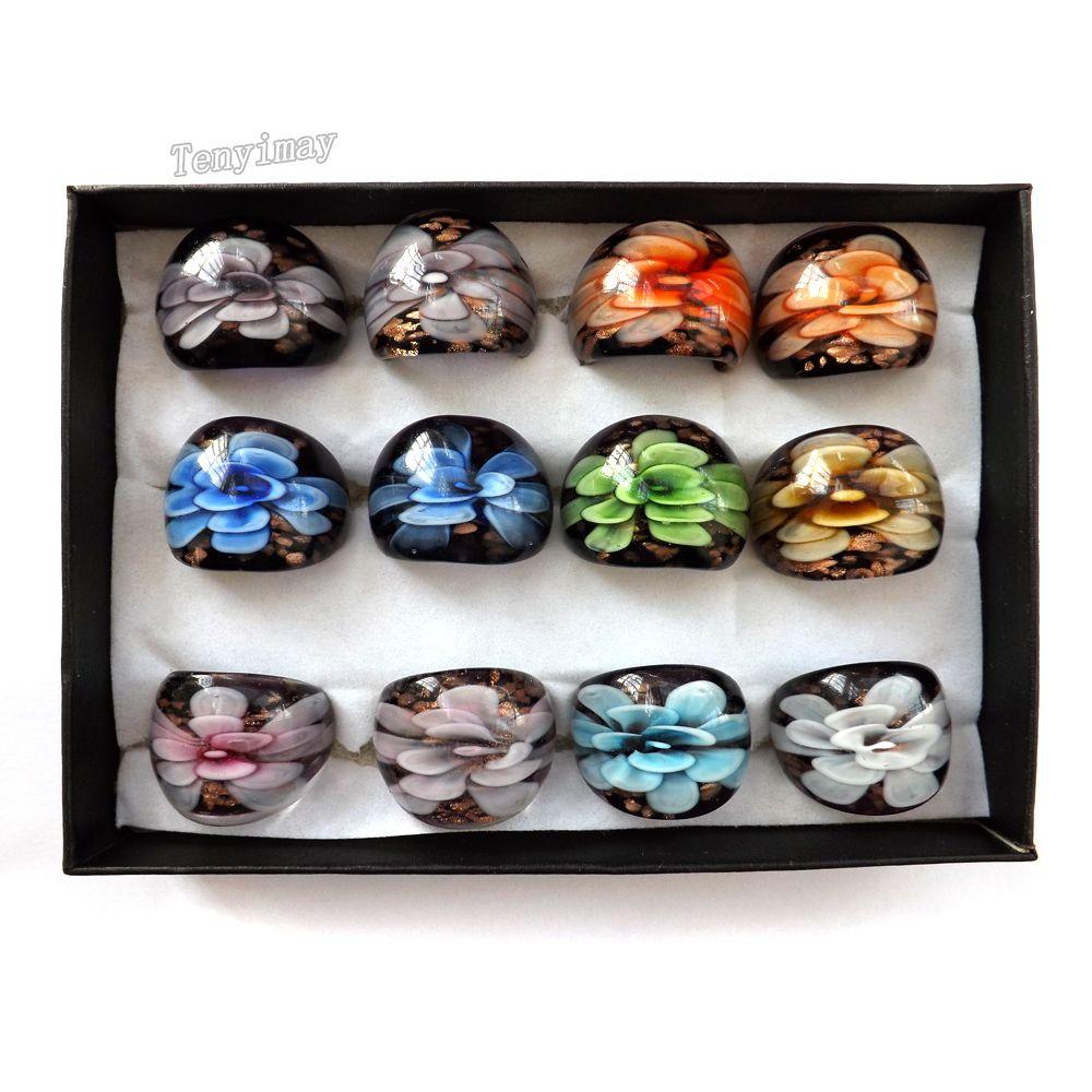 Anillos de vidrio de tamaño mixto con diseño de flor interior chino de estilo tradicional de estilo de 12pcs envío gratis