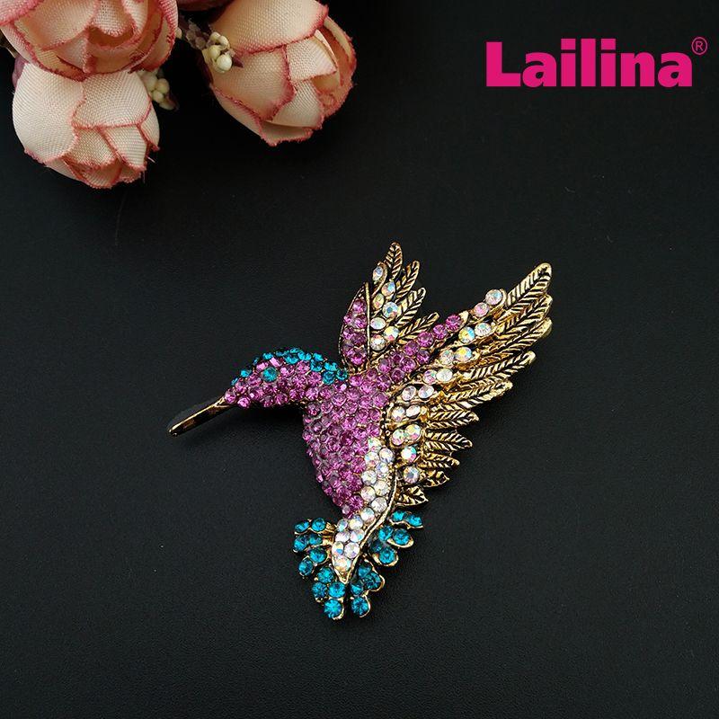 50pcs/lot Multi-color Rhinestone Crystal Aimal Bird Hummingbird Brooch for Women