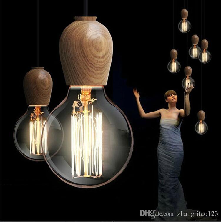 single head vintage industrial pendant lamp simple woodren pendant lights for diningroom edison bulb pendant light - Edison Bulb Pendant