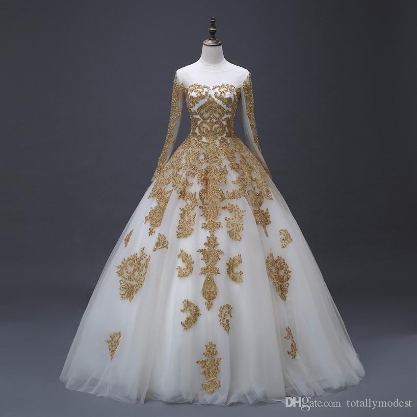 Abiti da sposa Arabic Gold Appliques Abiti da sposa con maniche lunghe Nuove foto reali Principessa Dubai Abiti da sposa su misura