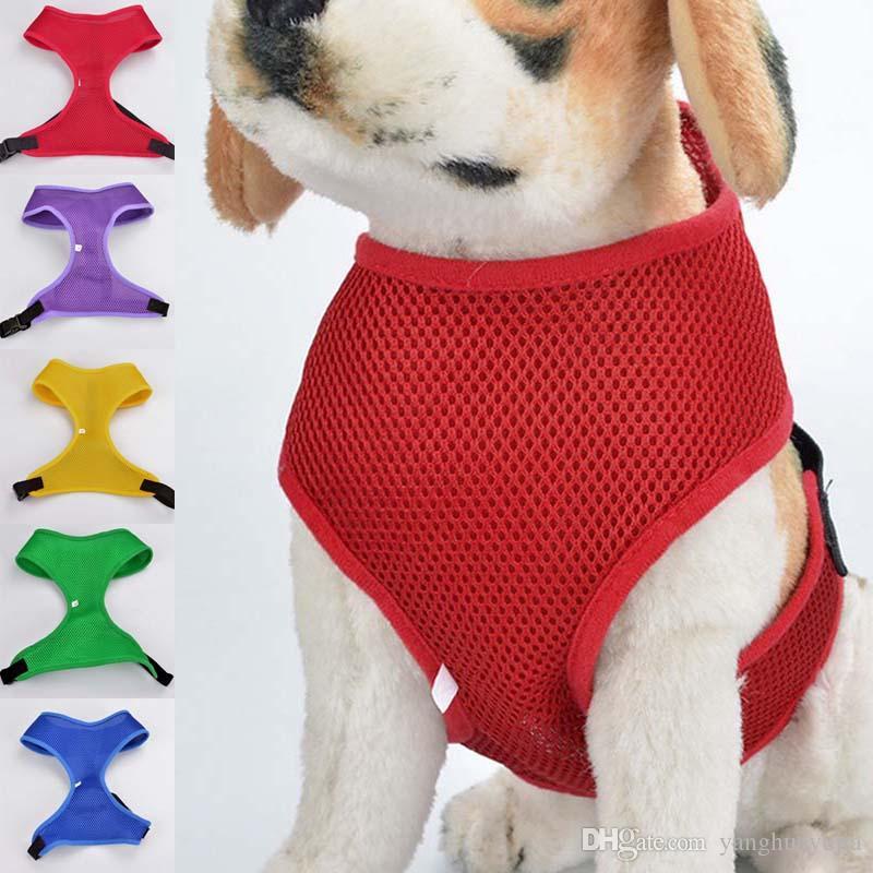 20 шт. / Лот Сетка Дышащий Pet Dog Harness Регулируемый размер Жилет Pet Harness Для Маленьких Средних Собак