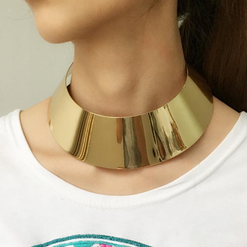 واسعة عزم الدوران المعدنية الشرير المختنق للنساء 2017 مجوهرات كبيرة ماكسي الياقة بيان قلادة ذهبية اللون الفضي