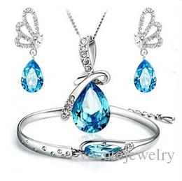 Wholesale prix mode bijoux Ensembles d'ange larmes de bijoux en cristal autrichien pour femmes à base d'éléments autrichiens bijoux de mariage
