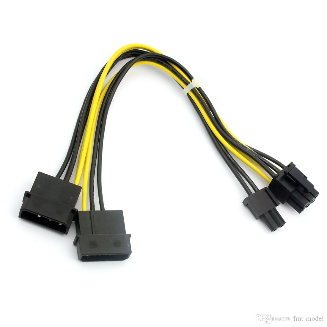 F22996 8Pin To Dual Large 4Pin Connector Port Graphics Card Power Supply  Cable D Type 20cm Wire Date Cable Adapter For Computer Pc Components Shop  Pc