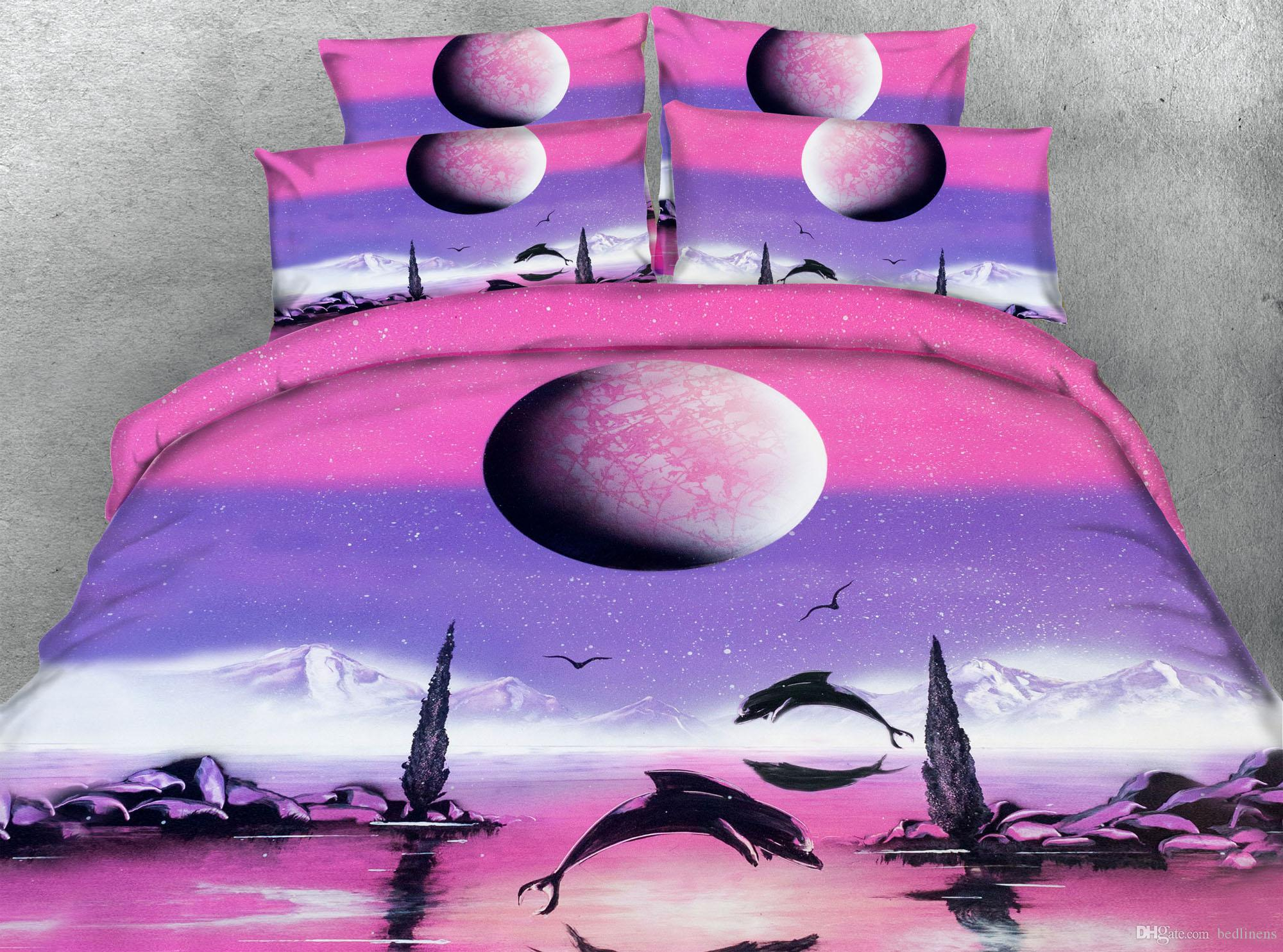3D Printed Pink Dolphins Bedding Sets Twin Full/Queen King Cal King Dovet Cover Set Pillow Covers Home Textiles Comforter Set