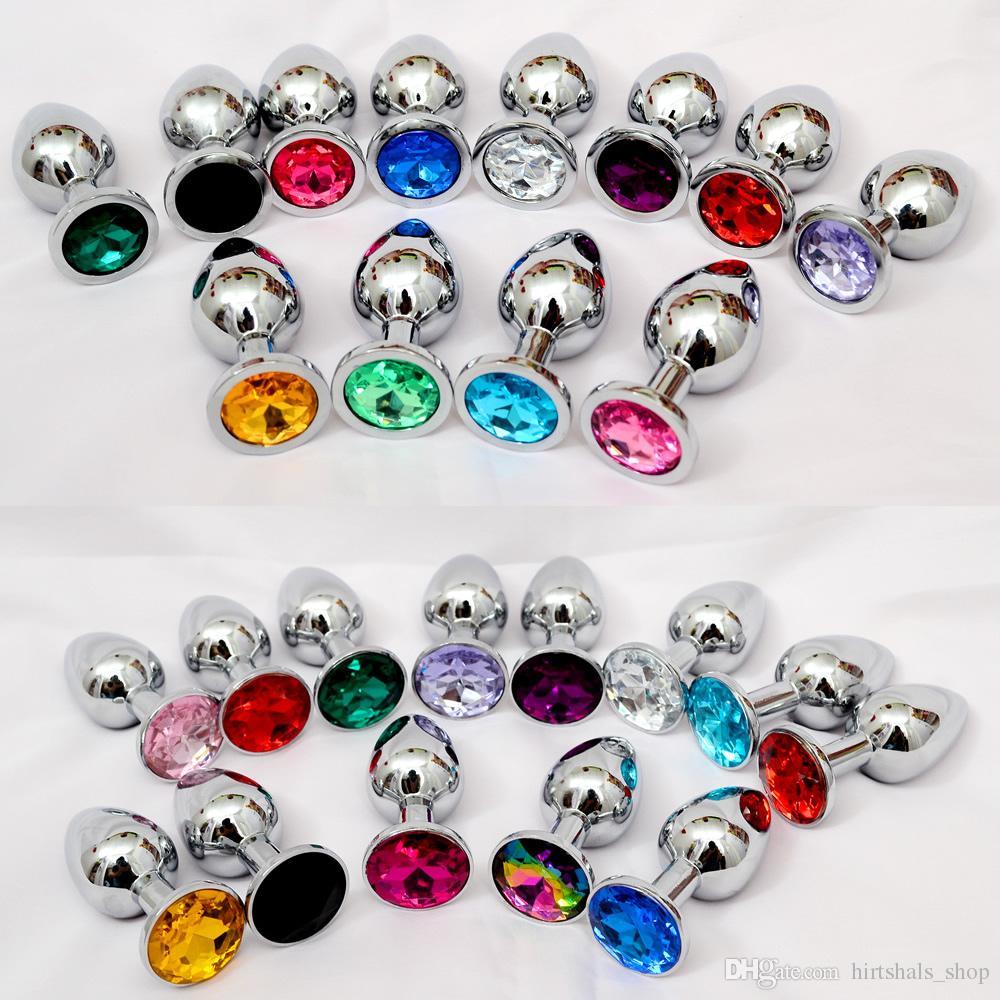 Piccola dimensione in acciaio inox metallo anale bottino perline in acciaio inox + cristallo gioielli giocattoli del sesso prodotti per adulti butt plug per le donne uomo