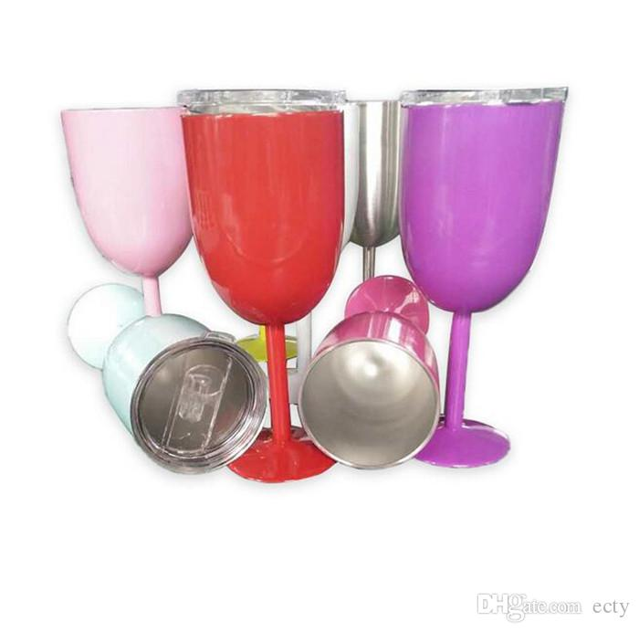 10oz Colorful Wine Glass Cup RTIC Style Stainless Steel Wine Glasses Tumbler Free shipping DHL