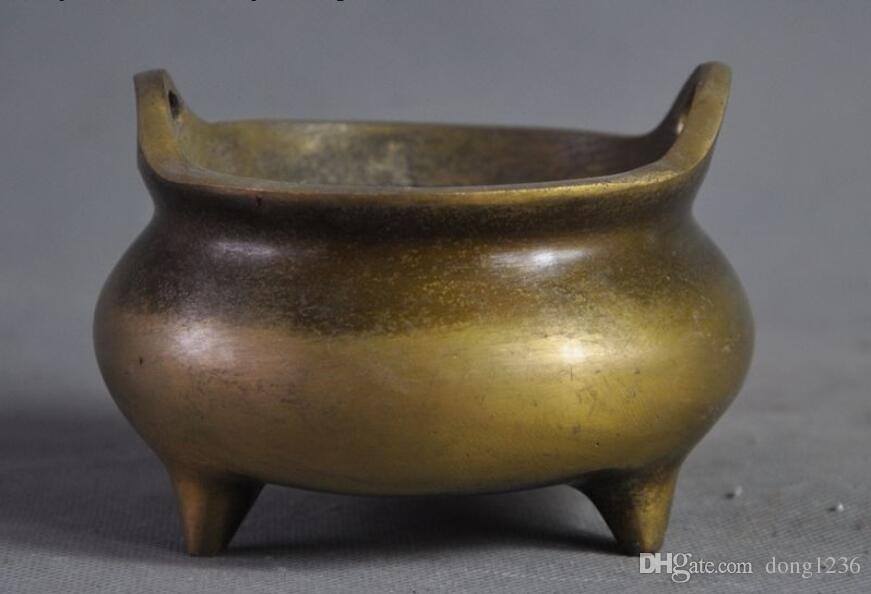 낡은 중국 중국 불교 사원 청동 구리 향 버너 향로 표시