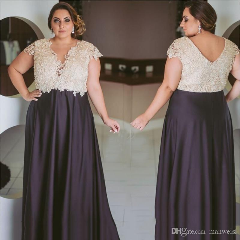Cheap Formal Plus Size Prom Dresses Cap Sleeves V Neck 2018 New Lace  Applique Evening Gowns Dark Purple Mothers Special Occasion Dress Plus Size  ...