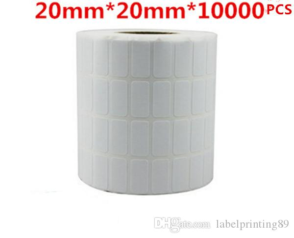 20 * 20mm 10000pcs / rouleau blanc ou étiquettes ordinaires Papier de bureau Code à barres d'autocollant auto-adhésif pour imprimante