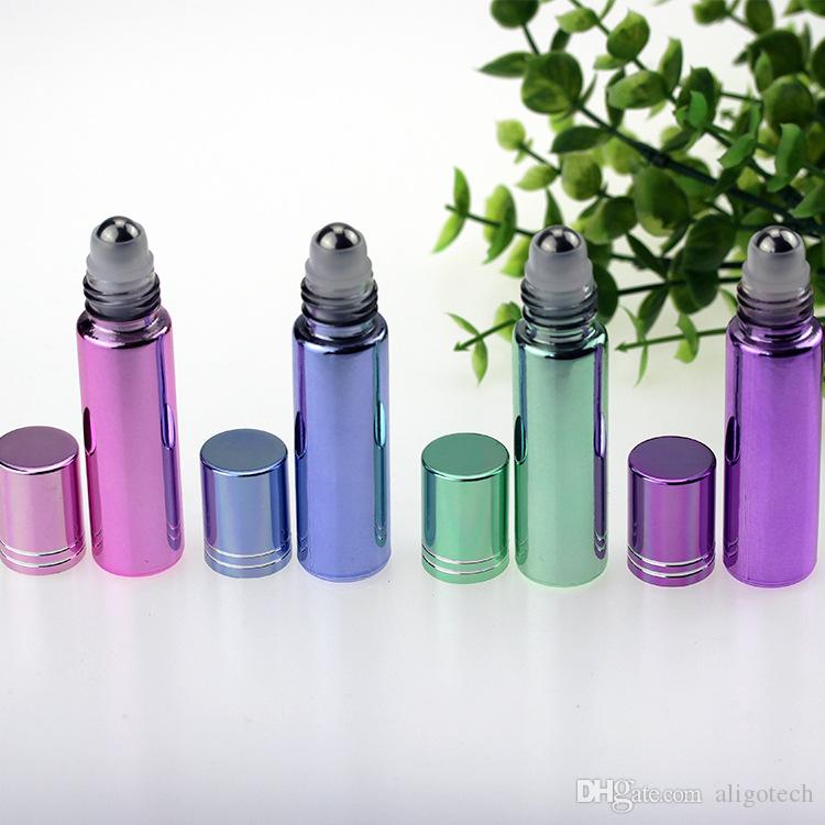 Plating Mix 4 Farben 10ml Roll on Glasflaschen Ätherisches Öl Stahlmetallrollerball für Eliquid Öl Make-up Hautpflege Portable für Trave