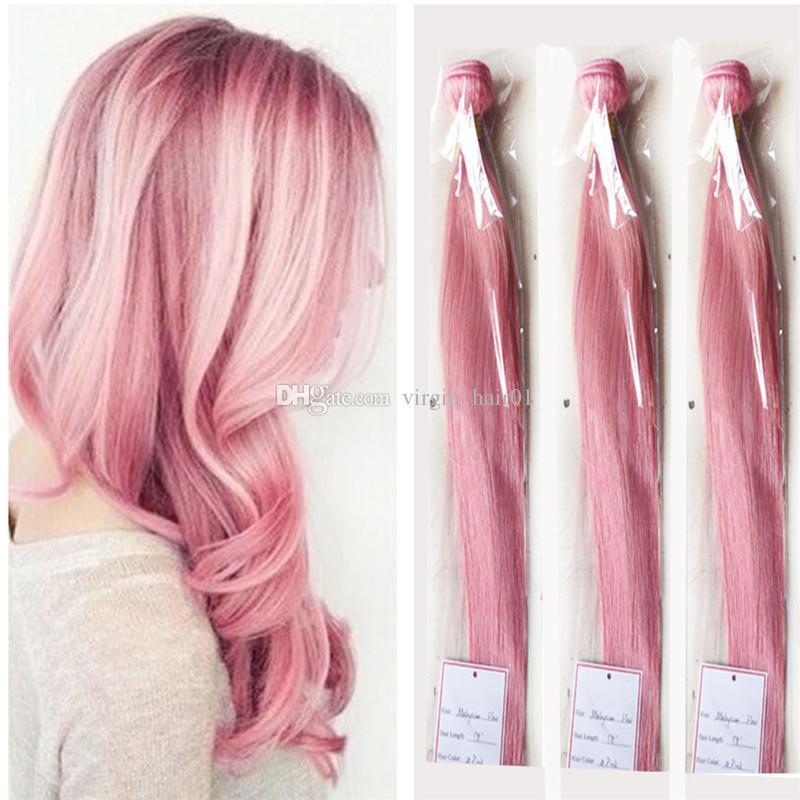 실크 스트레이트 핑크 인간의 머리카락 직물 로즈 핑크 브라질 버진 헤어 번들 3pcs / lot 핑크 머리 확장 더블 Wefts 8A 학년 Wefts