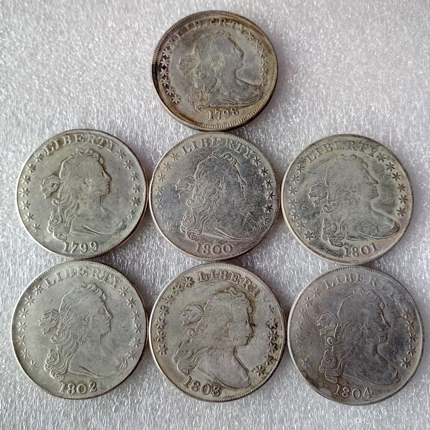 عملات الولايات المتحدة 1798-1804 7 قطع رايات التمثال النحاس الفضة مطلي الدولار نسخة عملة