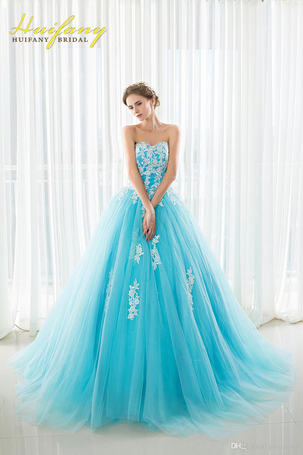 2017 Real Ball Gown Prom Dresses Light Blue Tulle with White ...