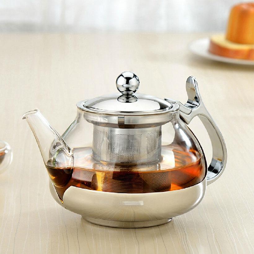 Bule de vidro grosso de aço inoxidável com filtro de chá de kungfu chaleira controle de temperatura flor bule drinkware presentes de feriado HWD80