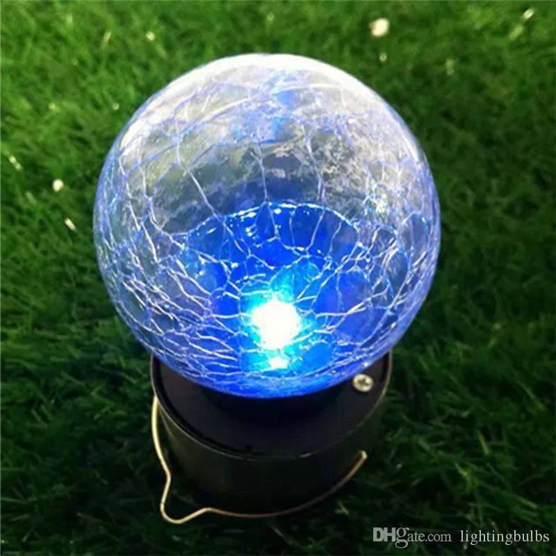 SOLARE alimentato da appendere Crackle Globe luci LED a sfera gancio da giardino in acciaio inox